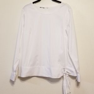 Talbots white stretch cotton side-tie blouse